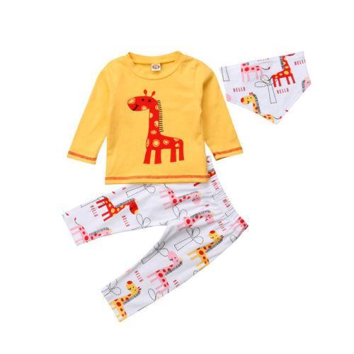 ce92c8d8a4eac 3pcs Newborn Kids Baby Boy Girl Giraffe Tops T-shirt Coat Sweatshirt Bibs  Outfit