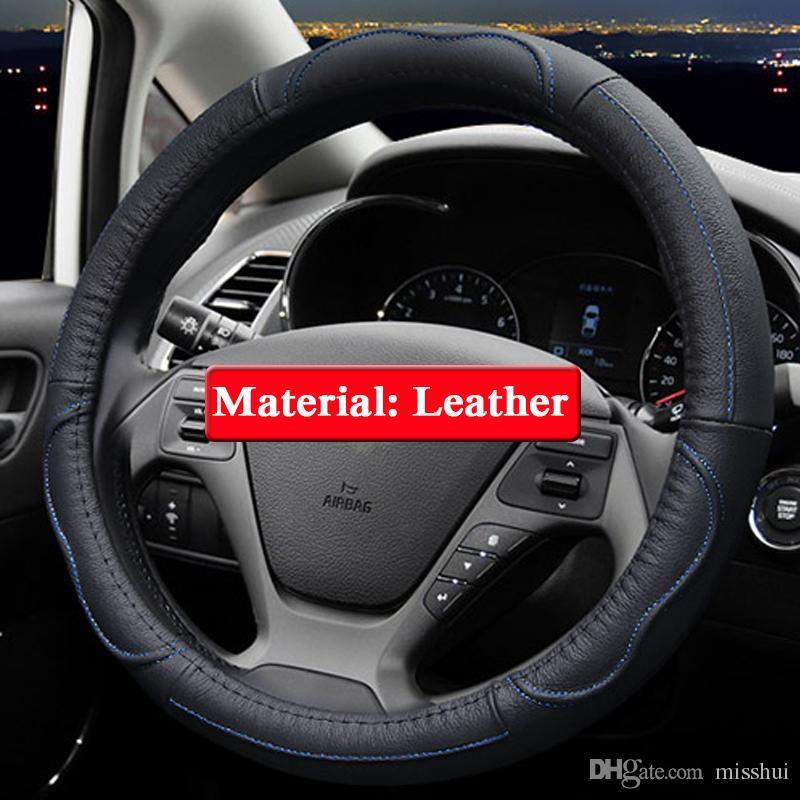 QCBXYYXH Araba Styling Için KIA K2 KX Çapraz K3 Forte SportageR 2012-2017 Direksiyon Kapakları Deri direksiyon simidi Kapağı İç aksesuar