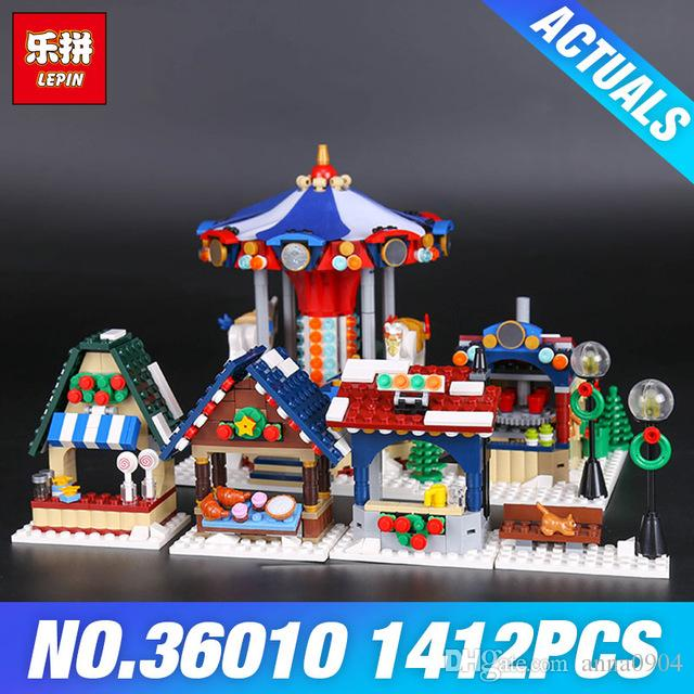 2018 lepin 36010 the winter village market set diy creative series 10235 building blocks bricks educational diy toys christmas gifts from anna0904