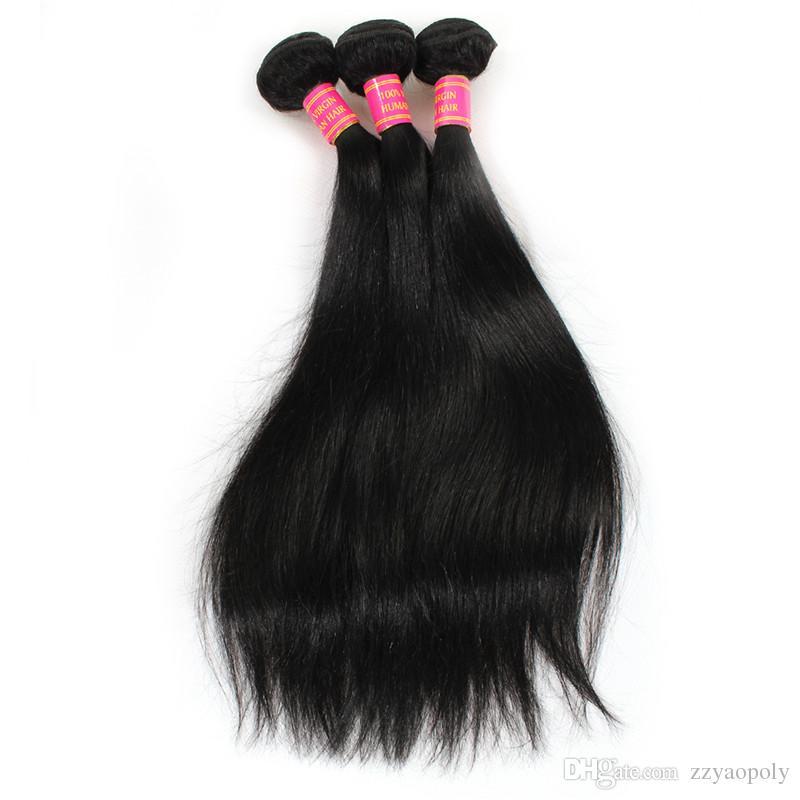 Fasci di capelli umani brasiliani diritti con chiusura capelli neri naturali 3 pacchi con chiusura in pizzo