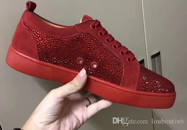 f5b53927c85a Fashion Designer Brand Studded Rhinestone White Flats Shoes Red Bottom Shoes  For Men And Women Party Lovers Genuine Leather Unisex Sneakers Black Shoes  ...