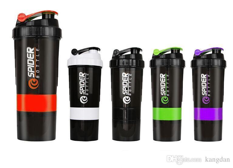 bottiglia d'acqua sport ciclismo all'aperto bottiglia shapker fitness 3 in 1 Bottiglia d'acqua sportiva con sfera di miscelazione inserita