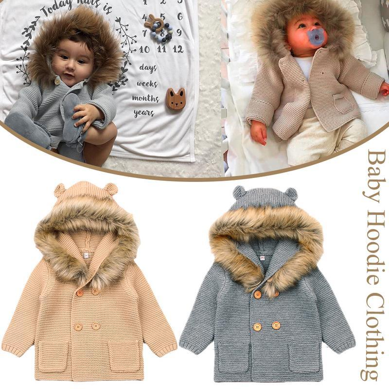 b22d630a0 Winter Sweaters For Baby Girls Cardigans Autumn Hooded Newborn Boys ...