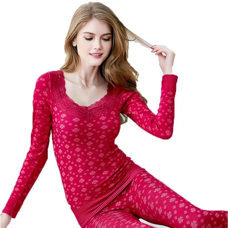 5da430e077e3 2016 mujeres ropa interior térmica set moda belleza sexy nueva mujer Ms  cuerpo que forma otoño invierno largo john