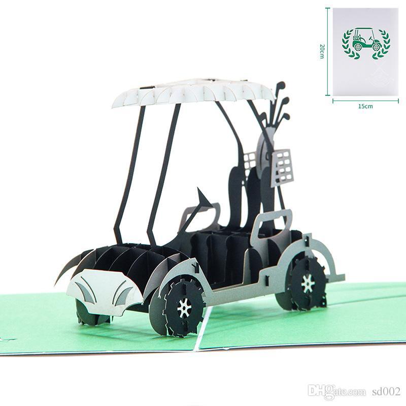 Business Greeting Card 3D Handmade Pop Up Vintage Car Golf Cart ...