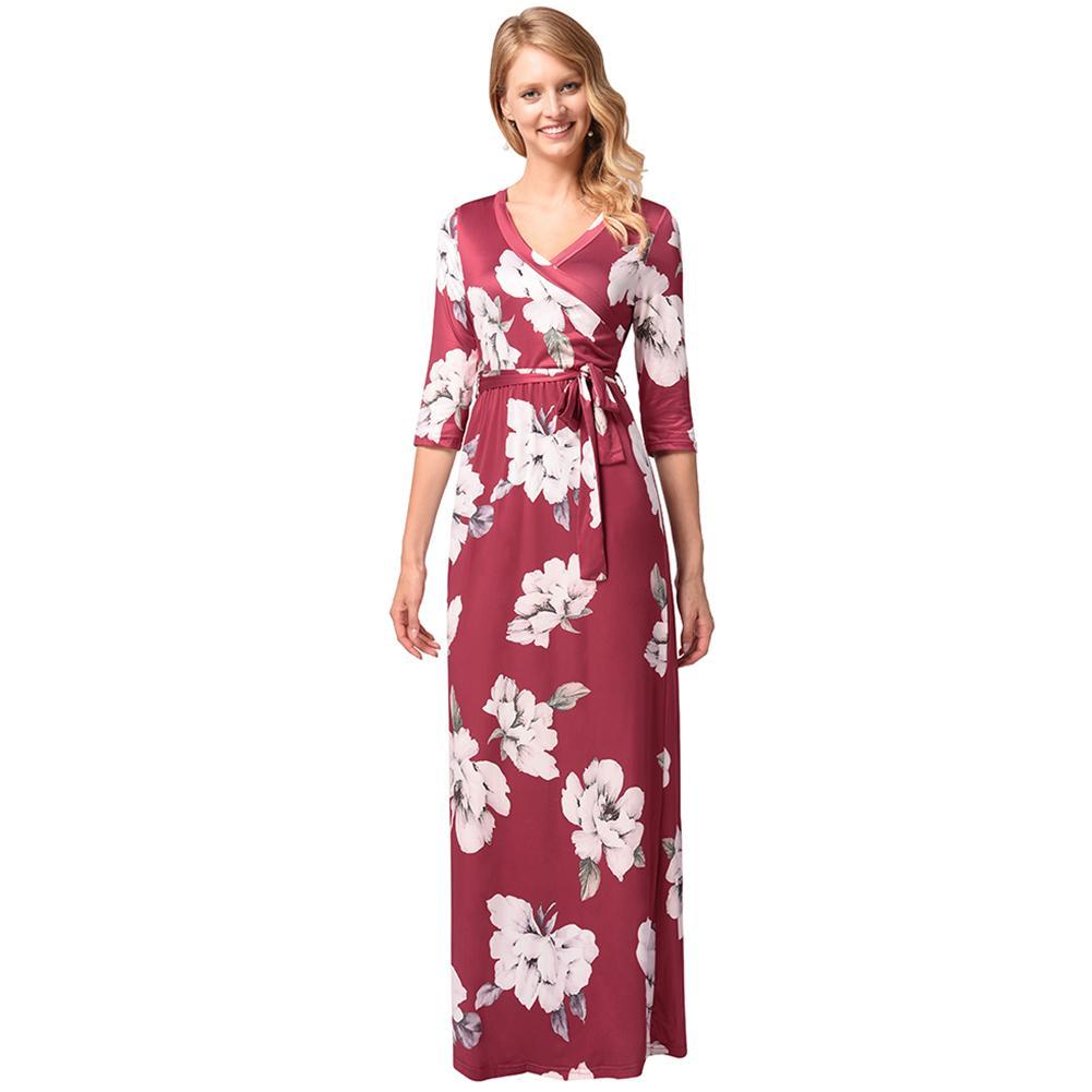 2019 Summer New Women Maxi Floral Dress Cross Front Half Sleeves Wrap Dress  Belt Elegant Boho Long Dress Burgundy Robe Ete Femme Women In Summer Dresses  ... 7a4a04c1b