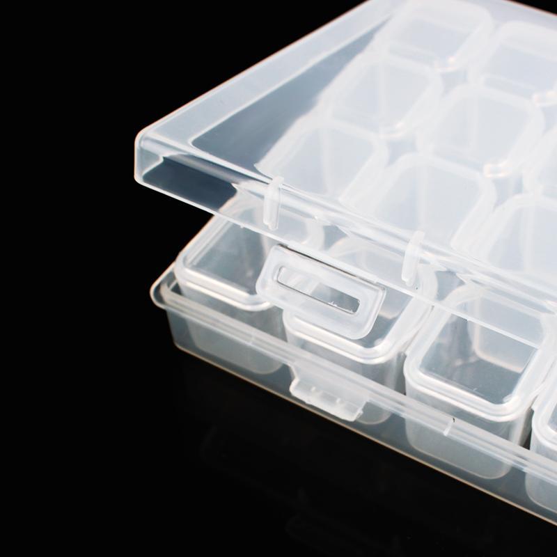 Clear Plastic 28 Slots Jewelry Beads Organizer Holder Storage Box Women Rhinestone Nail Art Tools Case Display Stand #233811