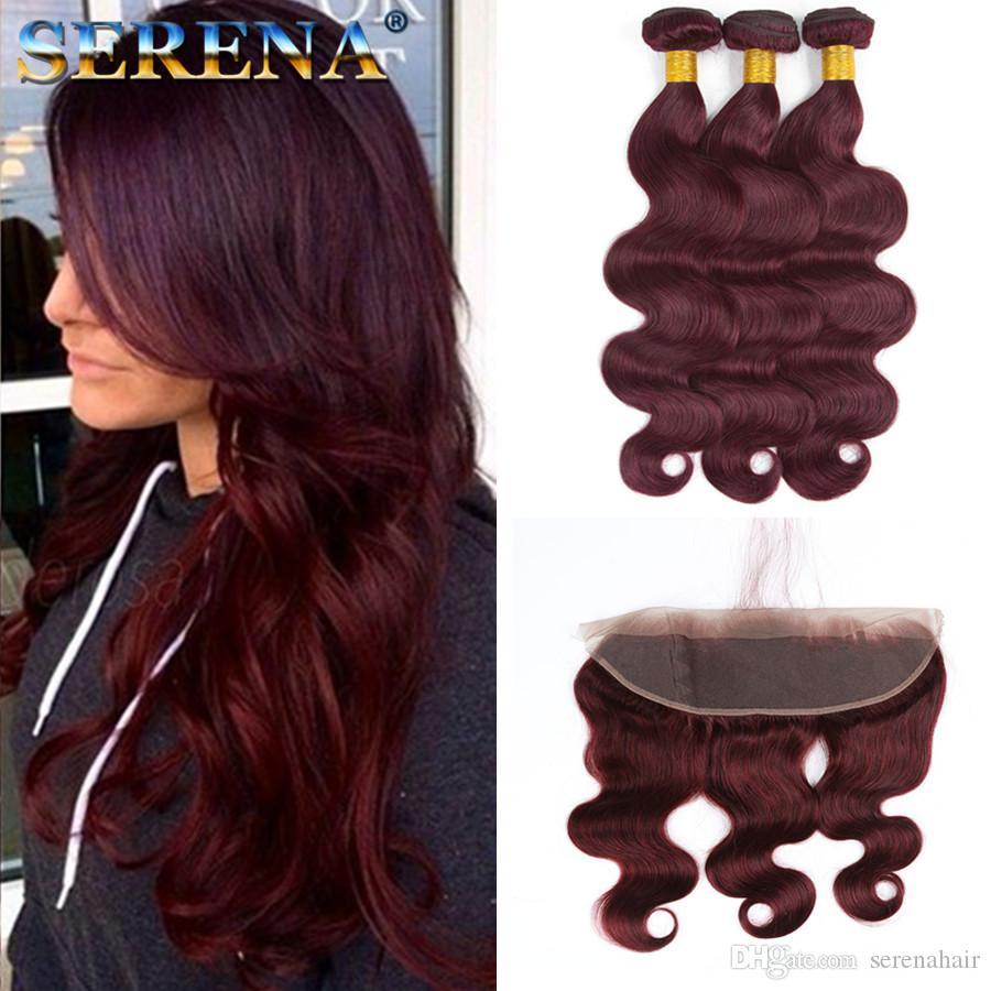 Бордовый волос ткать пучки класса 8а вино красный 99J Индийский девственные волосы тела Волна 4 шт. много с 13x4 фронтальной норки Реми человеческих волос расширения