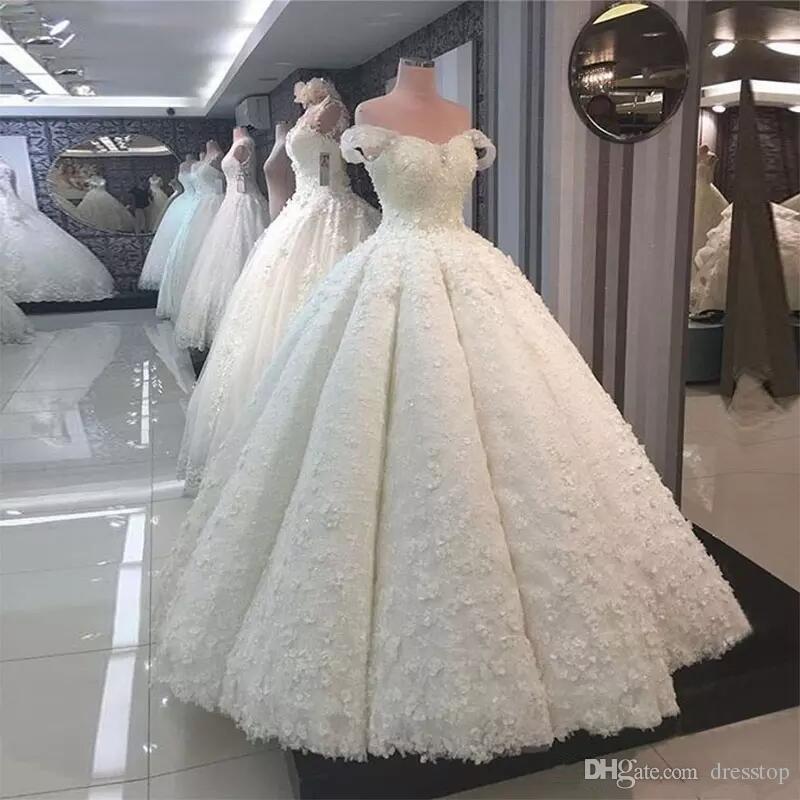 Acheter Robe De Mariee 2019 Robes De Mariee De Luxe En Dentelle 3d Floral Applique Princesse Robes De Mariee De Mariee Arabe Hors Epaule Robe De Robe