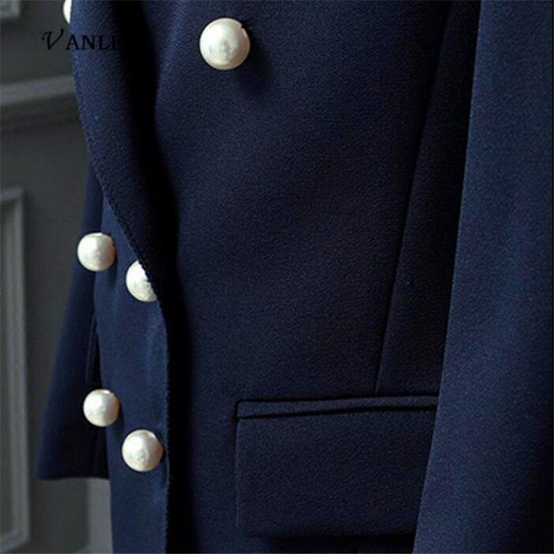 VANLED 2017 Venta Caliente Estilo de Corea Mujeres Oficina Moda Chaquetas Elegantes Trabajo de la perla Doble Breasted OL Blazer Trajes Z100