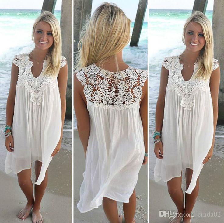 Boho Stili Kadınlar Dantel Elbise Yaz Gevşek Casual Plaj Mini Salıncak Elbise Şifon Bikini Cover Up Bayan Giyim Güneş Elbise