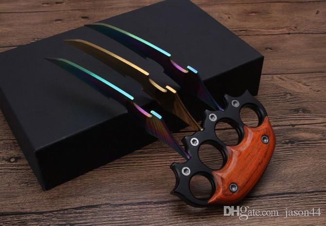 Atacado punho de madeira grande grande garra empurrar faca faca tática karambit Caça bolso presente faca Frete grátis