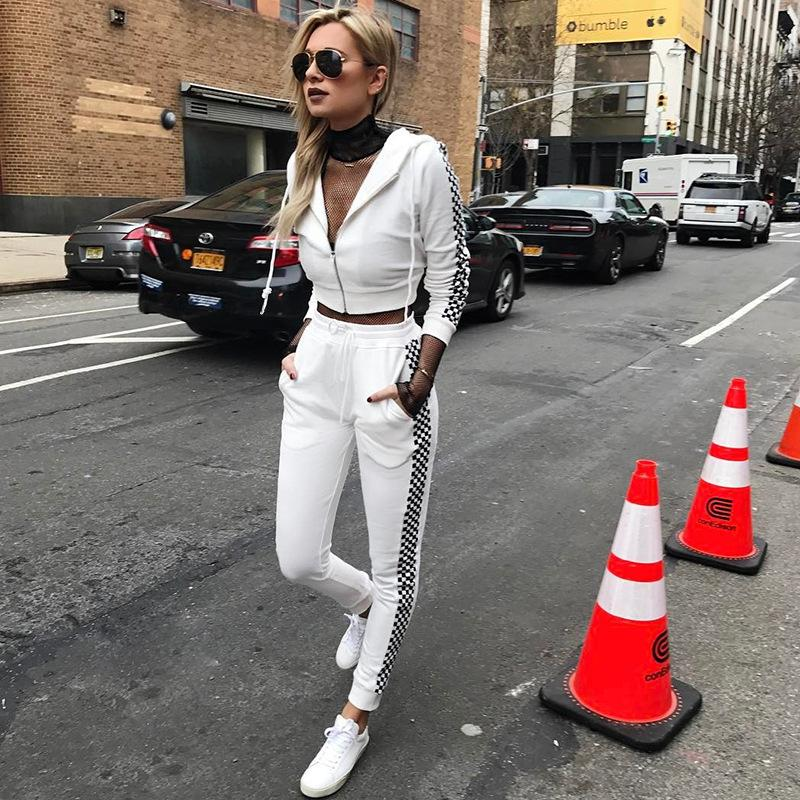 62e1e67af 2019 Satin Two Piece Set Tracksuit For Women Elegant Top And Pants Set 2018  Womens Casual Sweat Suits Fitness Autumn Outfits From Xcq0318