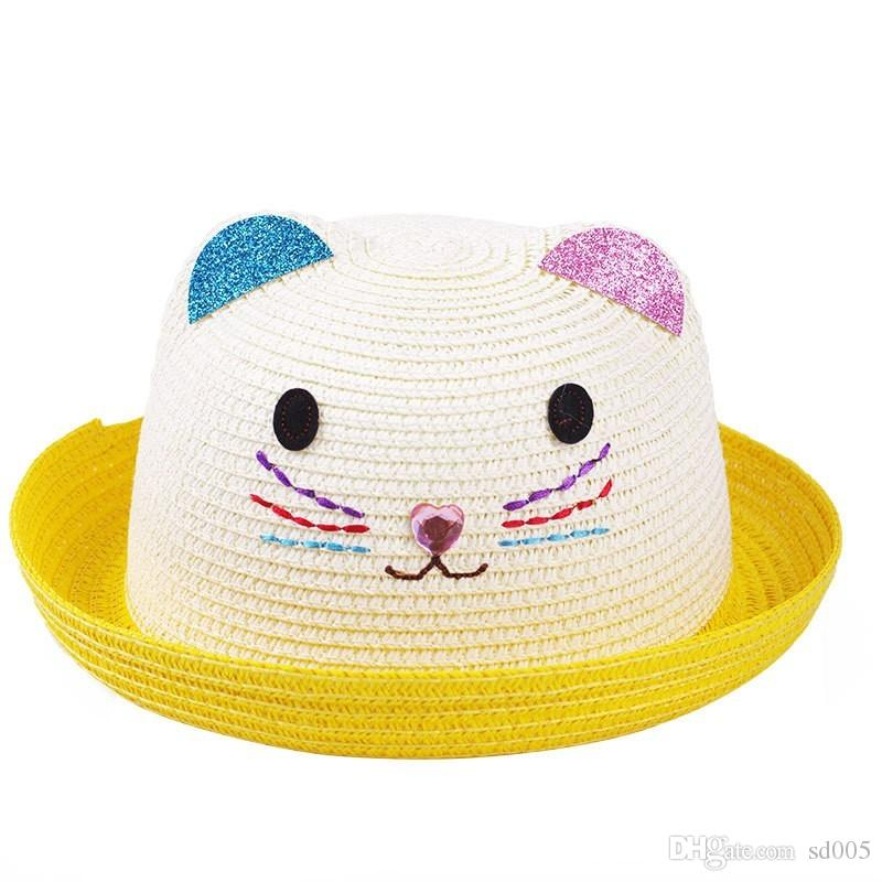 2018 Summer Breathable Stingy Brim Hats For Boys And Girls Cap Cat ...