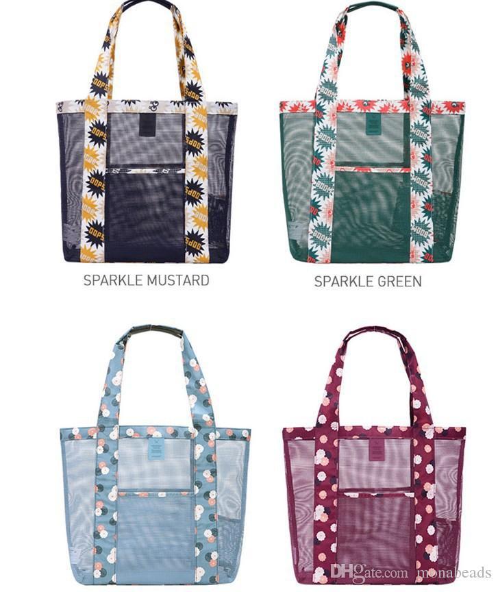 Beach Storage Bags Fashion Mesh Single Shoulder Women's Transparent Swimming Bag For Girls Ladies Handbags Travel Beach Bags