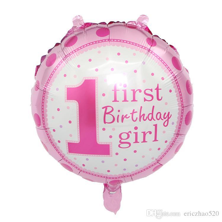 18inch baby girl boy balões de aniversário decoração do partido para 1 primeiro balão de aniversário estrela forma do coração ballons fontes do partido