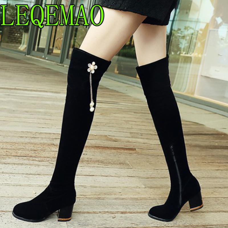 7204a1b9c3d9a2 Women Stretch Faux Suede Thigh High Boots Sexy Fashion Over The Knee Boots  High Heels Zip Woman Shoes Black Crystal Military Boots Walking Boots From  ...