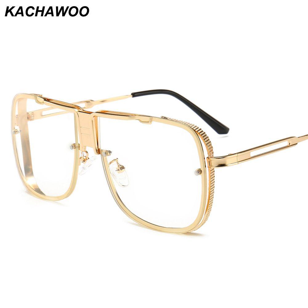 7732ab52d18 Kachawoo Wholesale Clear Lens Square Glasses For Men Metal Gold ...