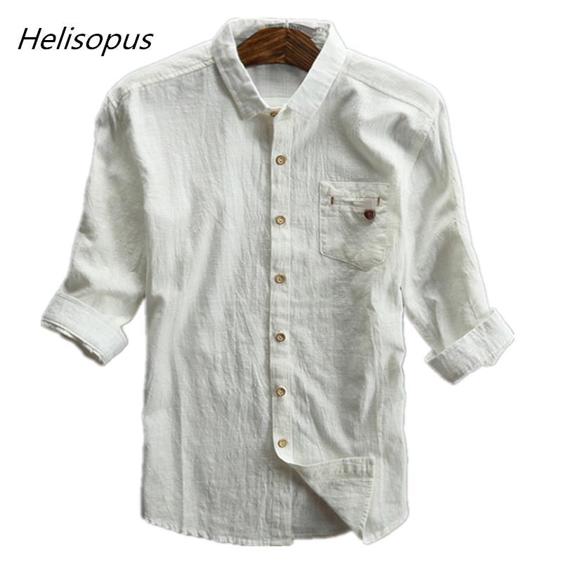 015ad22abe Compre Helisopus Camisas De Lino Sólido Hombres Mangas Tres Cuartos  Transpirable Delgado Adapta Camisas Streetwear Camisas Sociales Más El  Tamaño 5XL ...