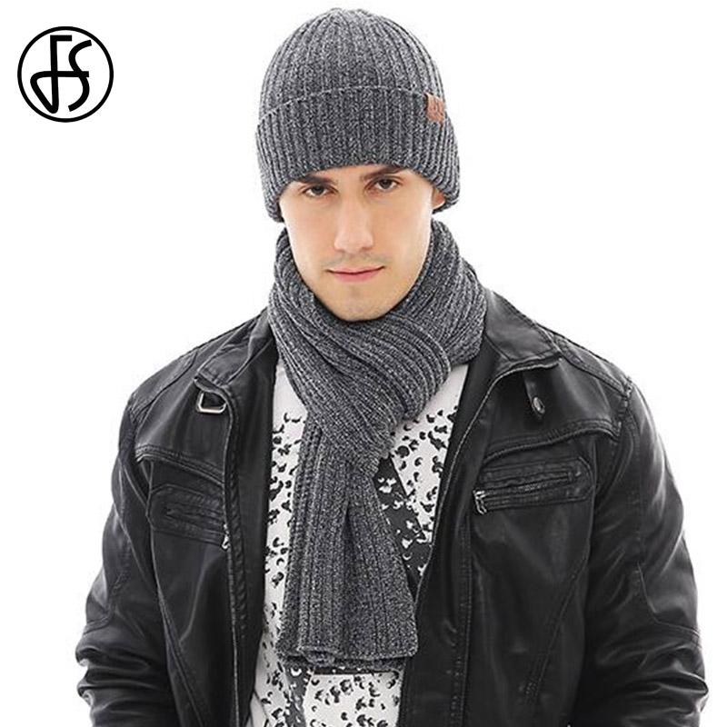 2608c1941 FS 2018 New Unisex Male Wool Knitting Beanie Cap Scarf Hat Glove Sets For  Men Women Lady Winter Warm Touch Screen Solid