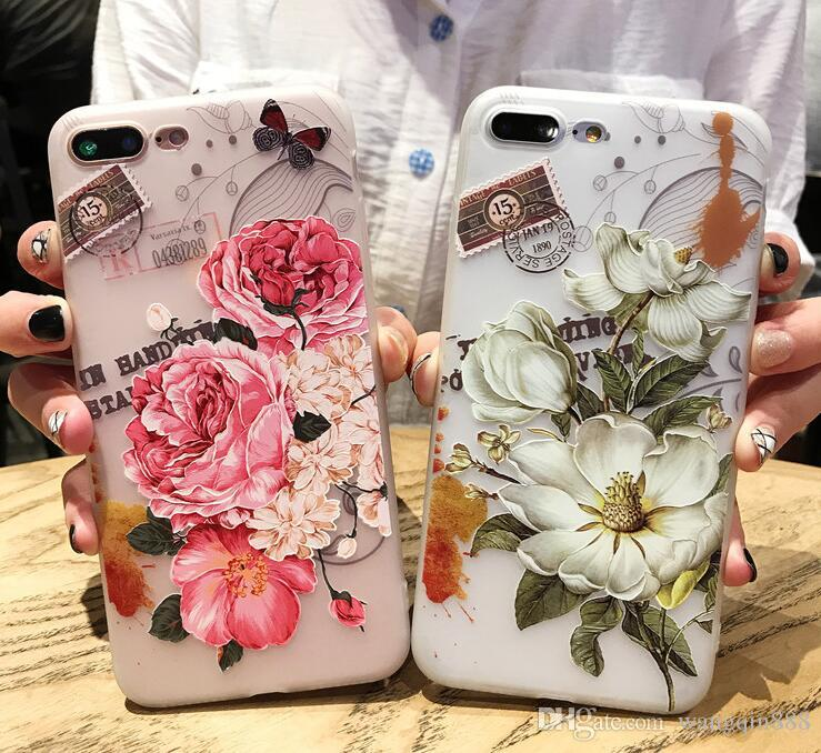 sale retailer f72e4 03bd7 Flower Phone Case For iPhone 7 6 6s Plus X Girls 3D Relief Pink Floral  Leaves Silicone Cover Soft Cases For iPhone 8 8Plus X