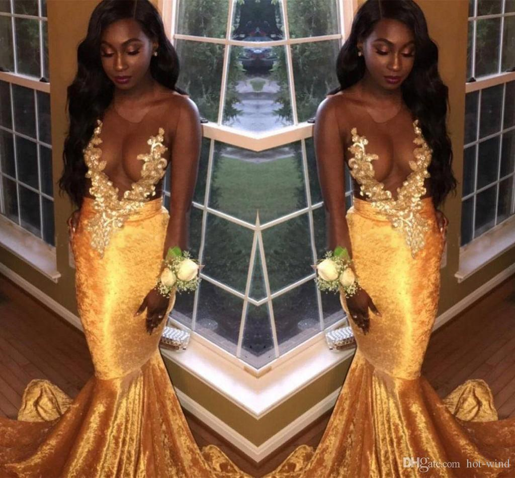 26a5097cdc27 2018 Daffodil Velvet Mermaid Prom Dresses Nude Mesh Top Sleeveless Lace  Appliqued Sexy Formal Evening Party Wear African Black Girls Wear Red Prom  Dresses ...