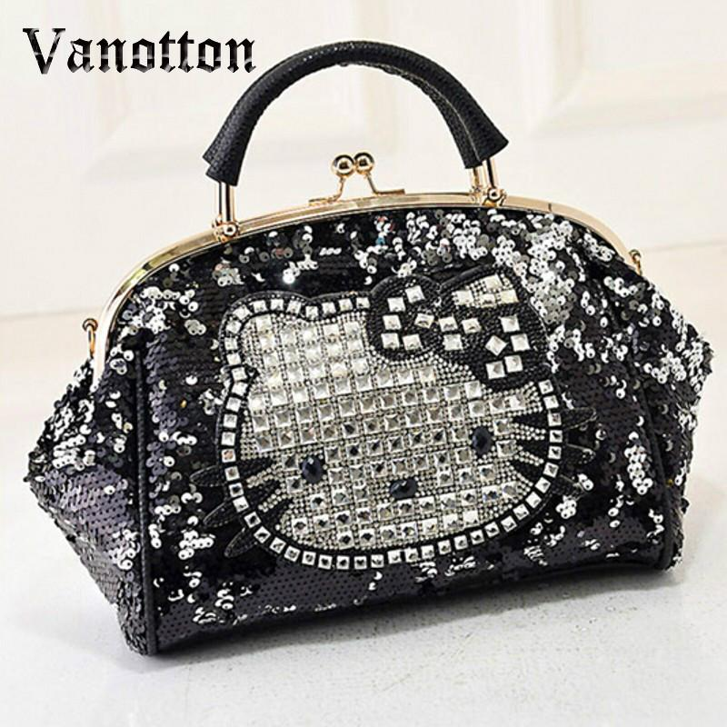 cdf397eba Luxury Famous Brand Women Female Sequined Bags Leather Hello Kitty Handbags  Shoulder Tote Bolsos Mujer De Marca Sac De Marque Over The Shoulder Bags  Hobo ...
