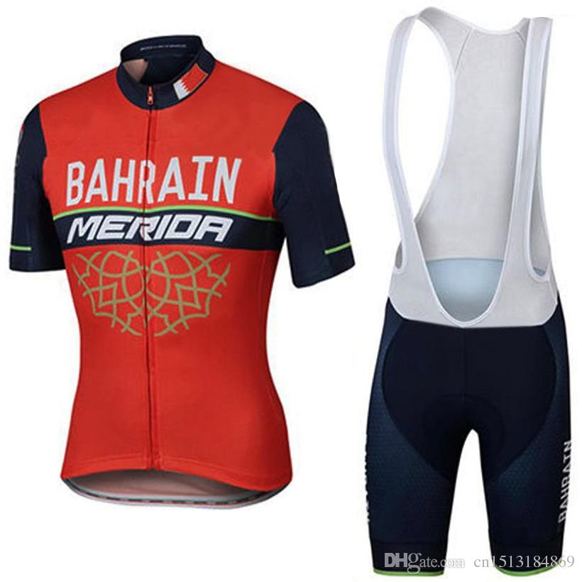UCI 2018 Pro Team Bahrain Merida Short Sleeve Cycling Jersey Bicycle  Clothing Kit Ropa Ciclismo Quick Dry Mtb Bike Jersey Bib Shorts Set Best Cycling  Shorts ... 098cab7f9