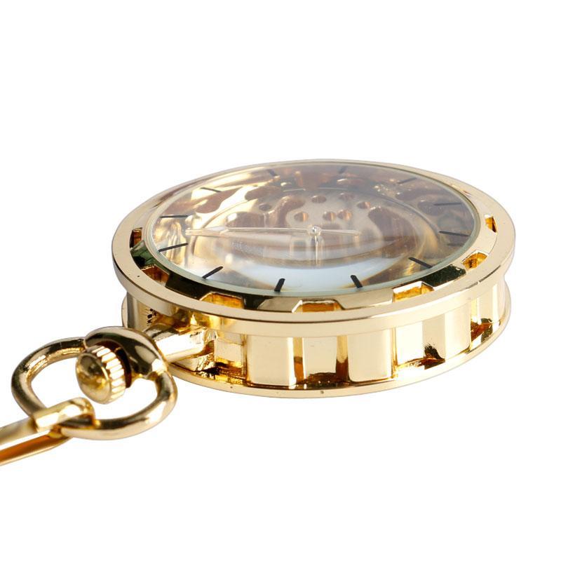 Reloj de bolsillo mecánico del viento de la mano del esqueleto transparente de lujo de oro con el regalo del diseño de la cara abierta de la cadena de los 30 cm para las mujeres de los hombres