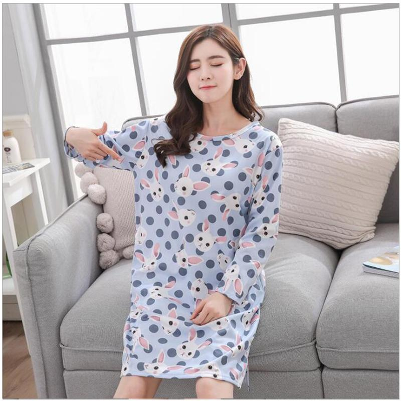 f58464c7a0 2019 Autumn Spring Women Robe Sets Milk Silk Casual Full Sleeve Nightdress  Print Cotton Sleepwear Plus Size Loose Pullovers From Guocloth
