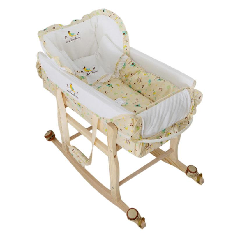 Wooden Baby Cradle High Quality Baby Crib Multi Functional Portable Bed Safety Newborn Mat Set Furniture With Wheel