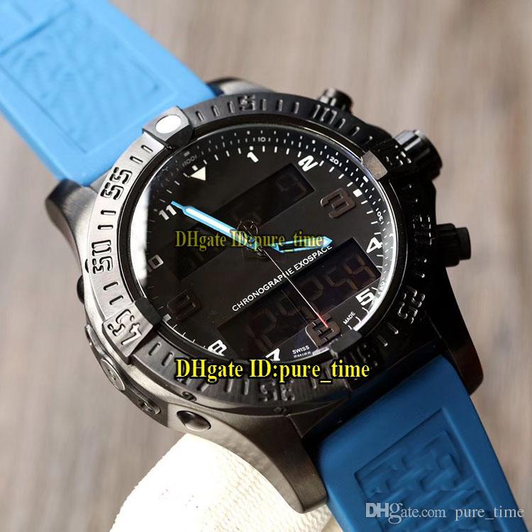 Luft- und Raumfahrt Beruf Exospace B55 EB5510H2 Zifferblatt schwarz elektronische Analog-LCD-Digitalanzeigemens-Uhr-PVD Black Steel Bue Kautschukband