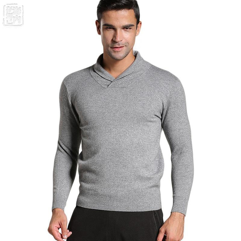 8c7fa6629 2017 Men's Shawl Collars Classical Knit 100% Goat Cashmere Sweaters Solid  Color Pullovers Men Sale Casual Pull Vintage Thick
