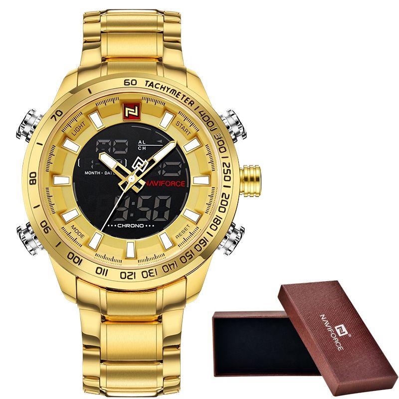 9bb072497b6 Men S NAVIFORCE Luxury Brand Sport Watches Men Dual Display LED Digital  Waterproof Full Steel Quartz Watch Man Clock+Origin Box S921 Watch Sales  Online ...