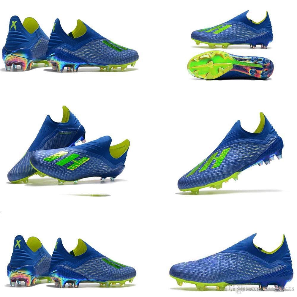 newest collection dfee4 ce4c1 Compre Zapatos De Fútbol Original X 18 FG Hombres Azul Amarillo Núcleo  Negro Botas De Fútbol Top Zapatos De Fútbol Mejores Zapatos De Fútbol A   60.7 Del ...