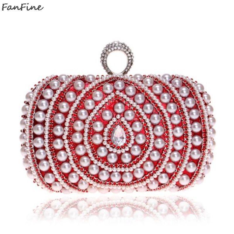 e4dd86ff001 FanFine Bags for Women 2018 Luxury Pearl Diamond Evening Bag Wedding Bridal  Clutches Party Dinner Dress Purse Chain Handbag Evening Bags Cheap Evening  Bags ...