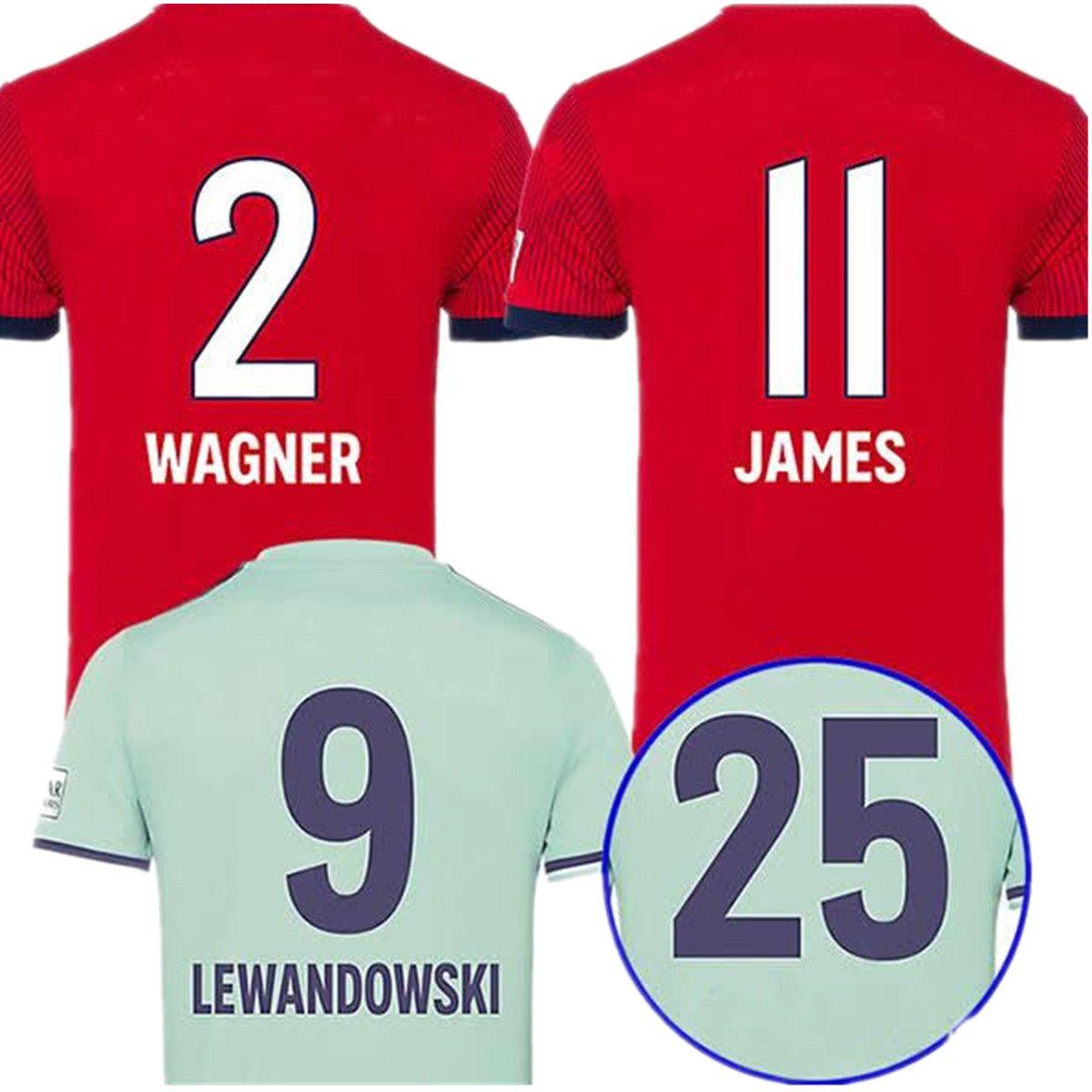 b1db3b646 WAGNER 18 19 James Home Camisetas Rojas De Fútbol LEWANDOWSKI 2018 2019  Camiseta De Fútbol TOLISSO COMAN ROBBEN MULLER KIMMICH Camiseta Maillot Por  ...