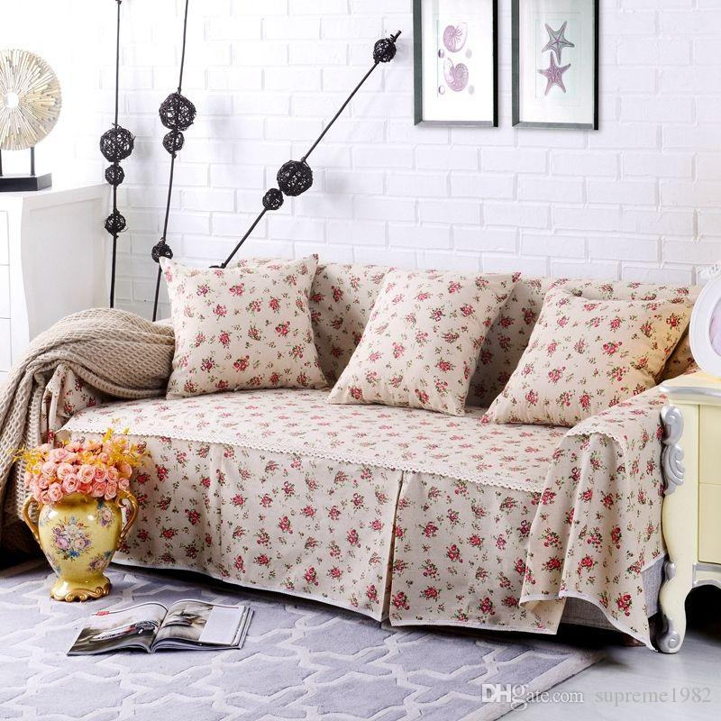 Floral Cotton Linen Slipcover Sofa Cover Oukr Protector For 1 2 3 4 ...