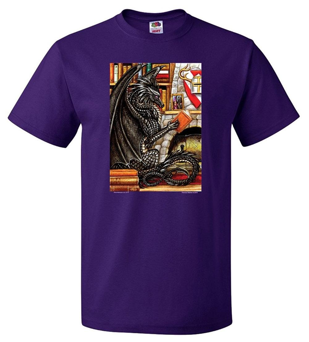 61f6e726 Fashion 2018 Summer Offworld Designs Unisex Library Black Dragon T Shirt  Purple T Shirt Men T Shirt Tops Tees Funny Tee T Shirt Buy From  Mayshowstore, ...