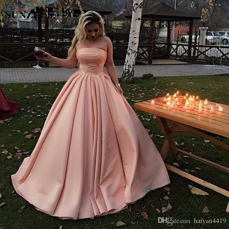 a2cd19e04fe Strapless Ball Gown Prom Dresses 2018 Sleeveless Pleats Ruched Tiered Satin  Long Floor Length Plus Size Arabic Custom Party Evening Gowns Cheap Modest  Prom ...
