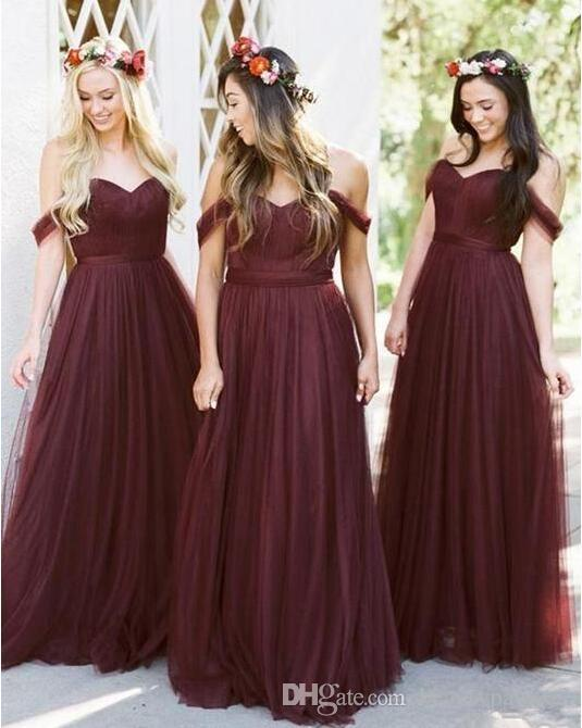 7e0da7ccd81 2019 Off Shoulder Long Bridesmaid Dresses Country Style Tulle Beach Wedding  Party Guest Dresses Maid Of Honor Dress Cheap Vestidos De Soiree Two Tone  ...