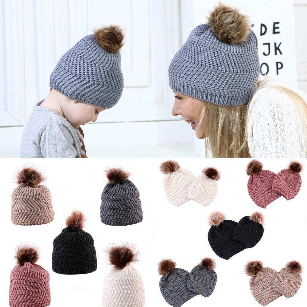 Großhandel Pusky Baby Mama Stricken Wolle Beanie Winter Warme Mütze