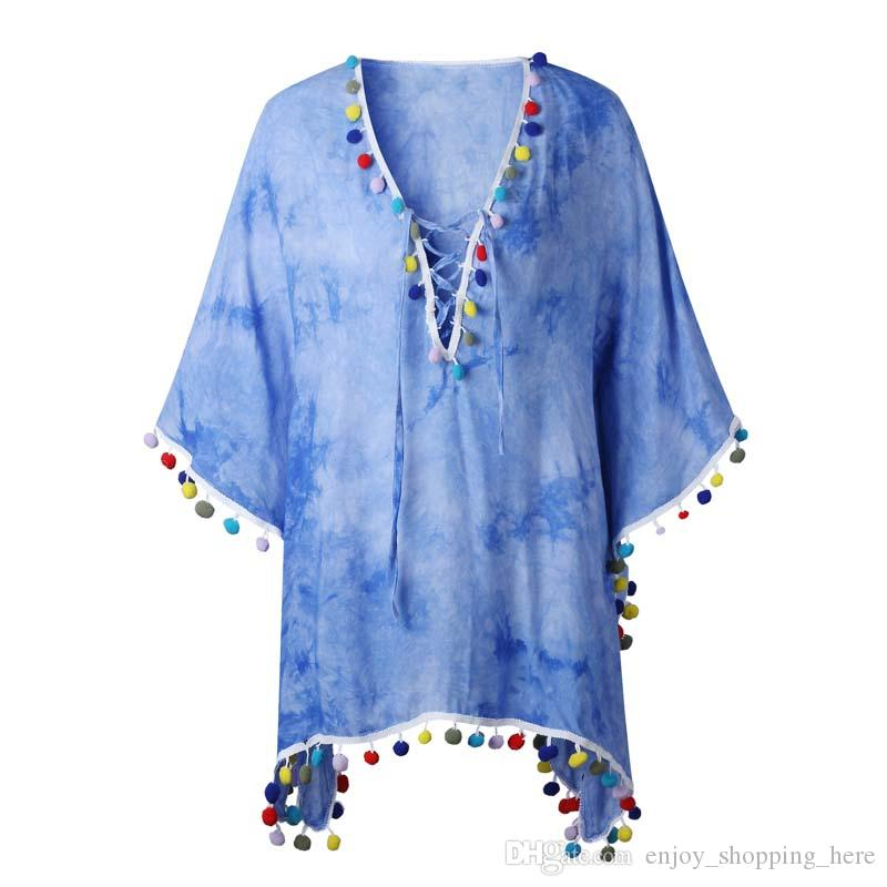 Women cover up capes tassel modal fiber cardigan lace long short sleeve deep v neck girls lady coat pink blue tops