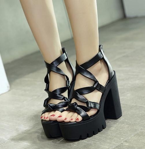 be265af0272 Chic Thick High Platform Heels Cross Strappy Black PU Leather Gladiator Sandals  Women 2018 Size 34 To 39 Leather Sandals Wedding Sandals From Tradingbear