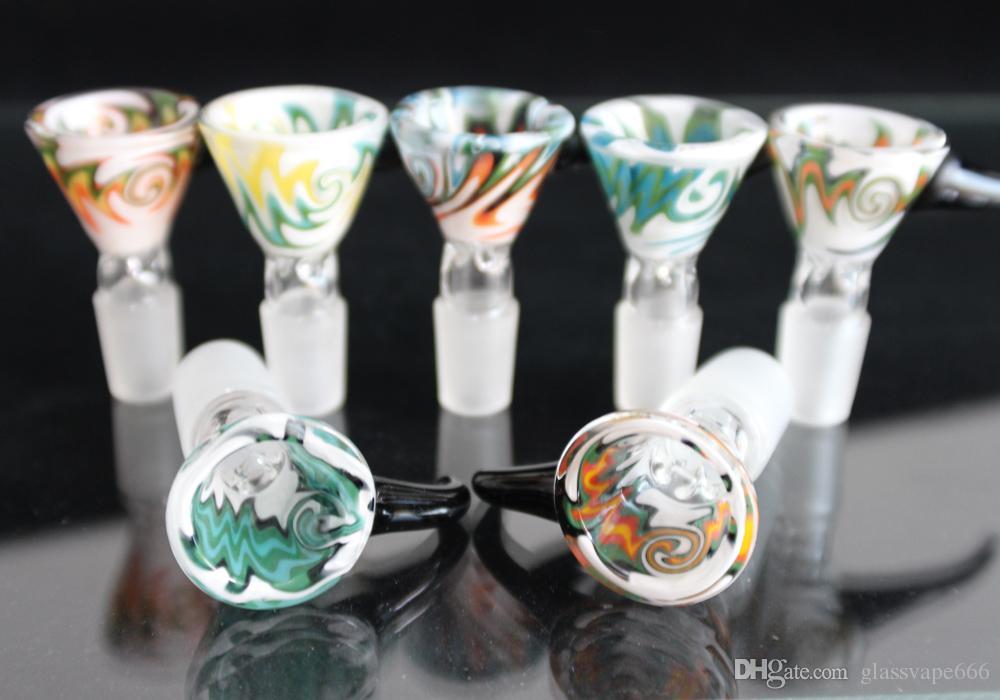 Ciotola di vetro colorato inebriante 14mm Ciotola di 18mm maschio con manico Scivolo bello vetro Bubbler e Ash Catcher Bong Bowls