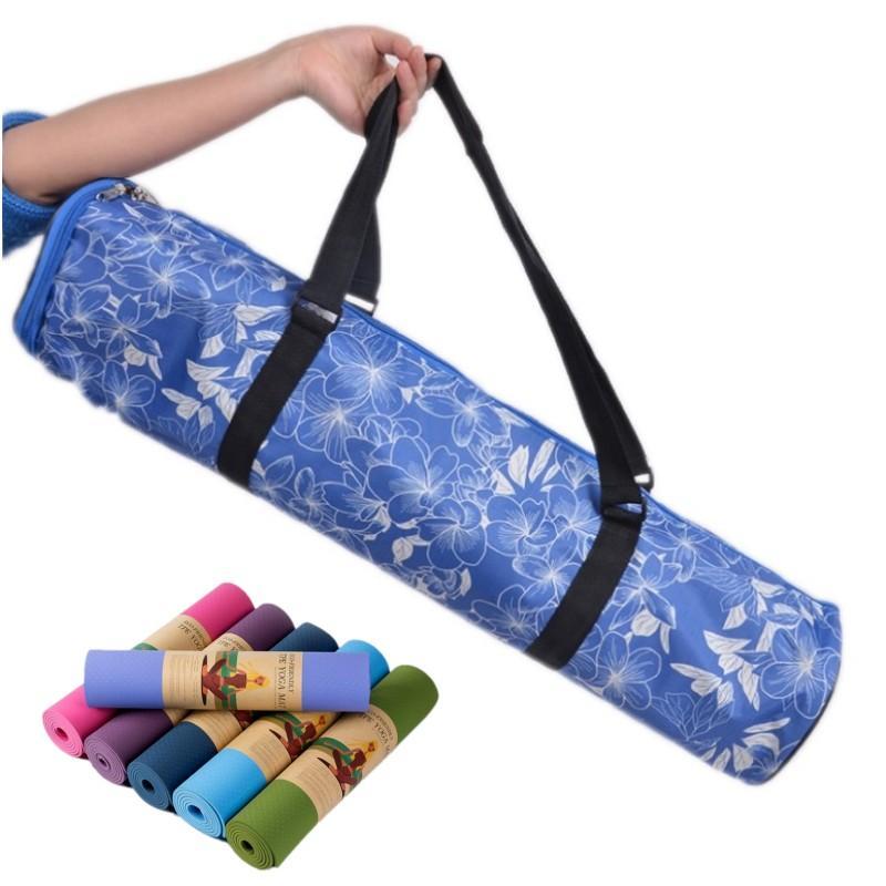 9107b0c28f0c 2019 Printed Waterproof Yoga Mat Bag Adjustable Drum Bag Sports Backpack  Fitness Gym Shoulder Women Dance Pilates Pad Bags From Longanguo