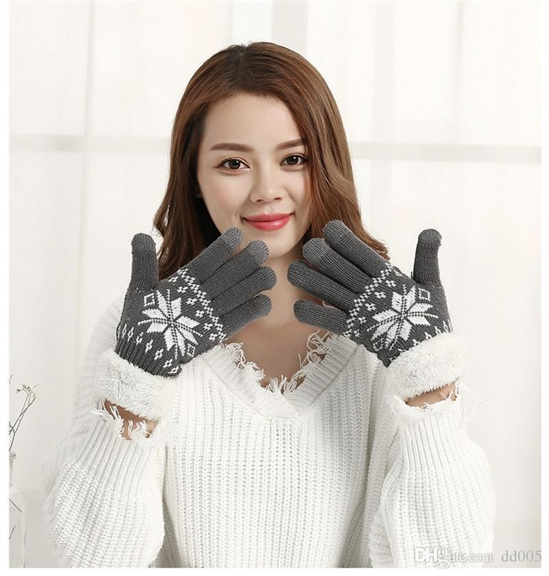 Women New Arrival Knitted Gloves Winter Keep Warm Outdoor Sports Soft Comfortable Snowflake Pattern Good Quality 10 5sq dd