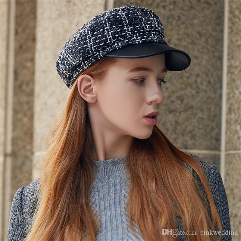 7b8f5b363d0 Fashion England Style Lady Berets Plaid M Letter Hats for Women Autumn  Casual Outdoor Warm Berets Designer Berets Plaid Hats Lady Berets Online  with ...