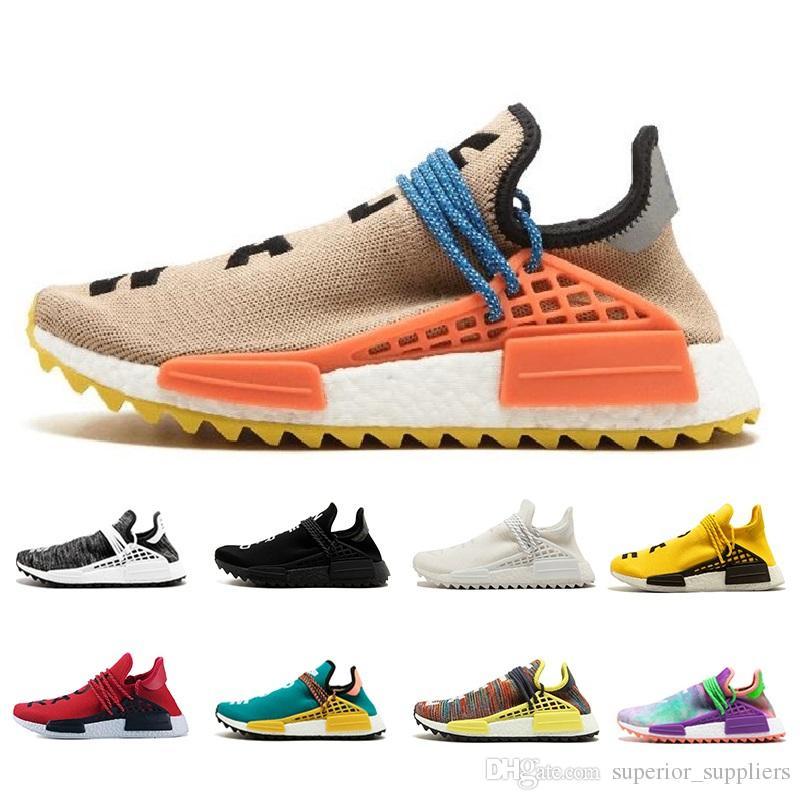 on sale 4e2c3 37e8f 2018 Human Race pharrell williams Hu trail Cream Core Black nerd Equality  holi nobel ink trainers Mens Women Athletic Sneakers Running Shoes