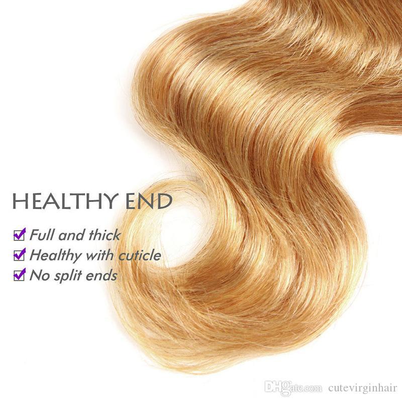 Ombre Человеческие волосы 3 пучка с кружевной застежкой Бразильские перуанские малайзийские индейцы объемная волна трехцветная коричневая блондинка 1B / 4/27 # Плетение волос